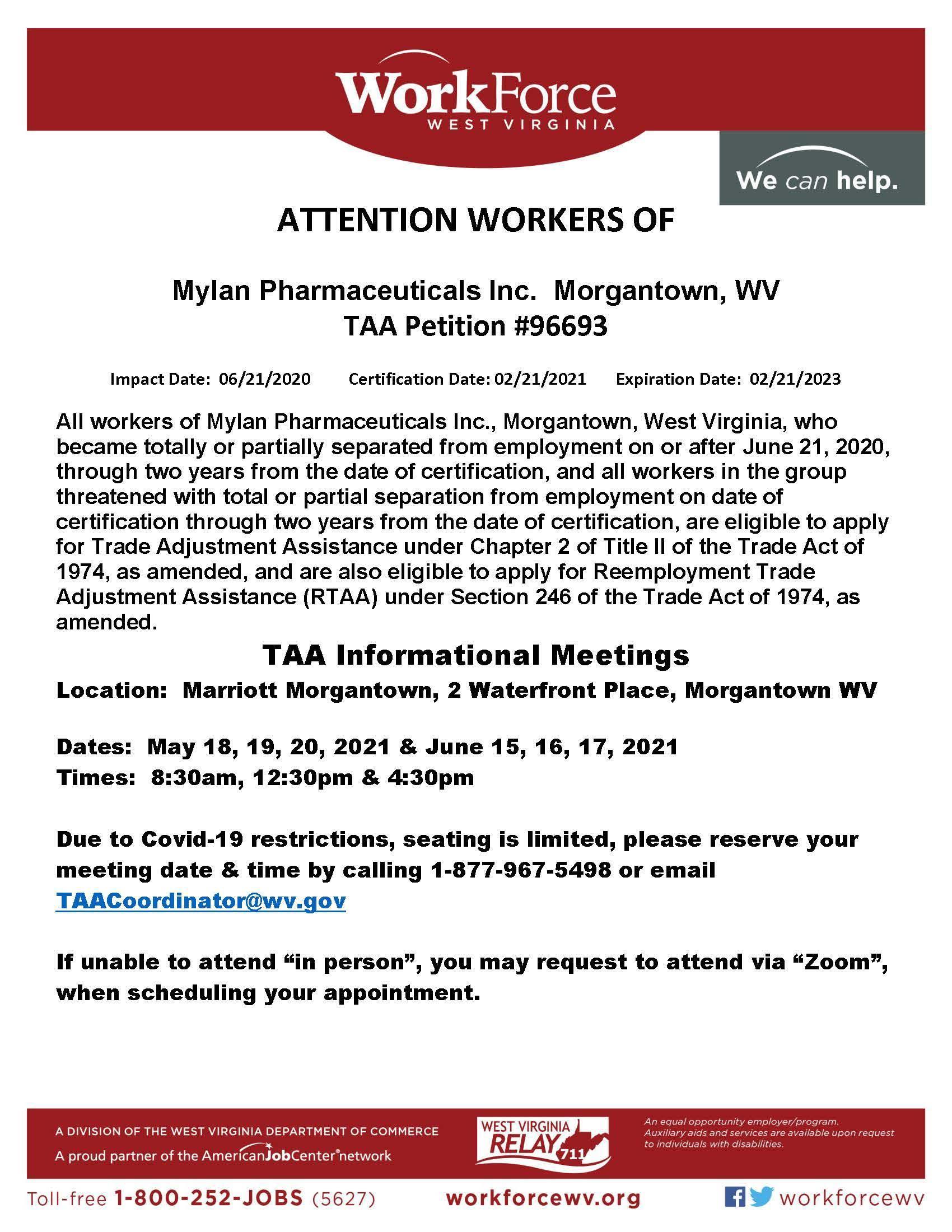Mylan TAA Meetings Flyer