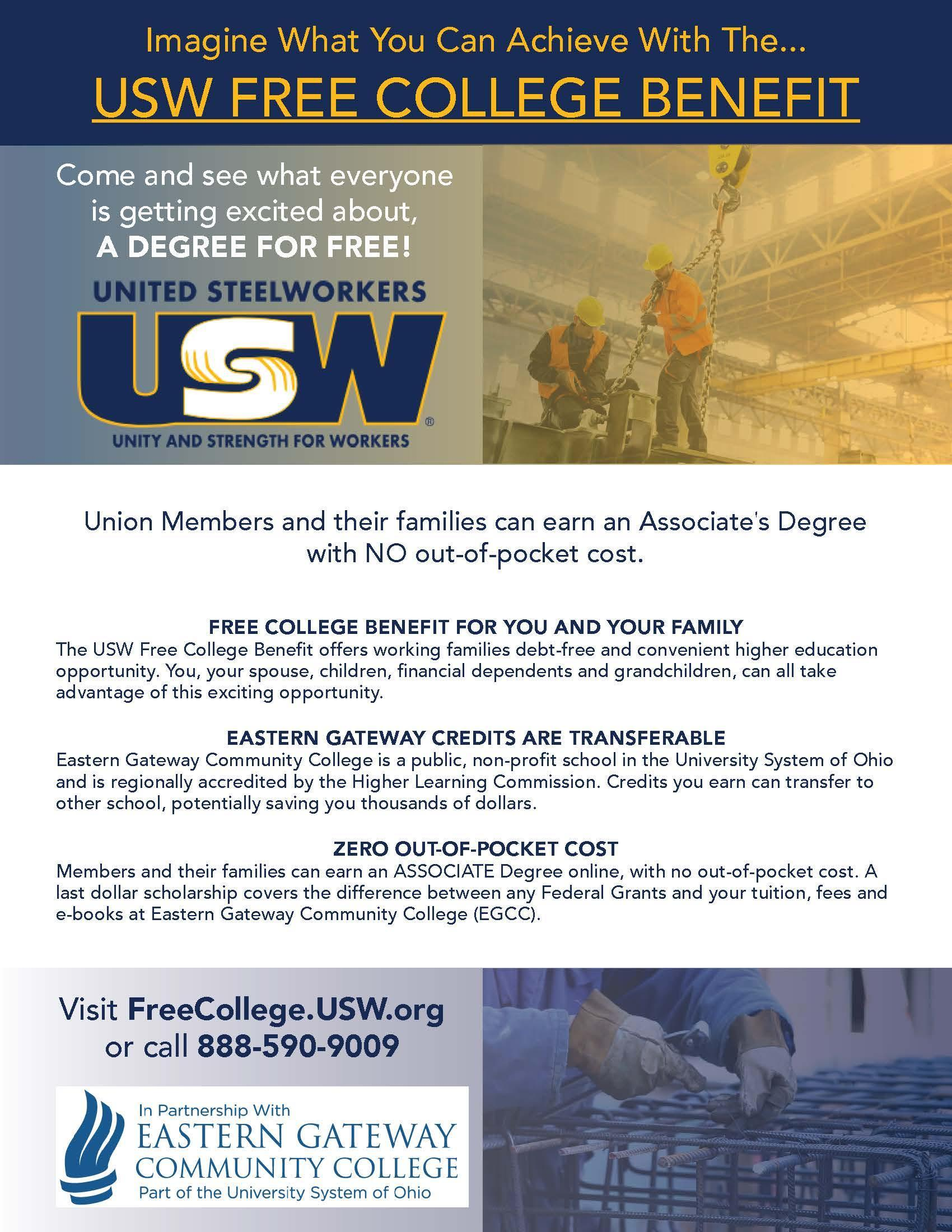 USW Free College Flyer